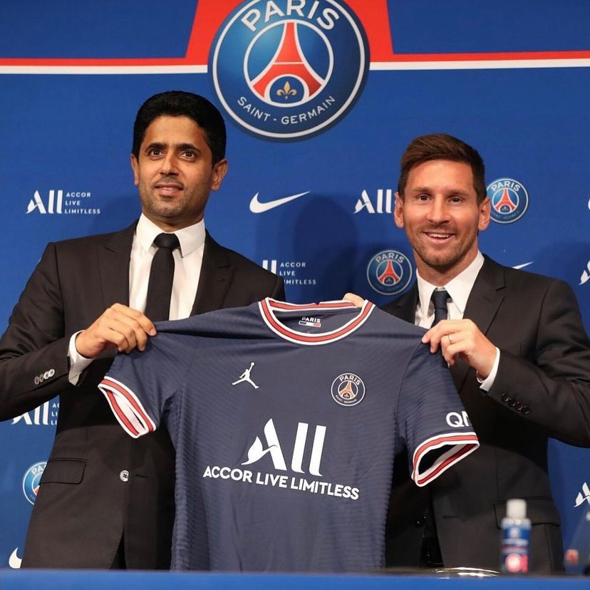Nasser and Messi Jersey presentation